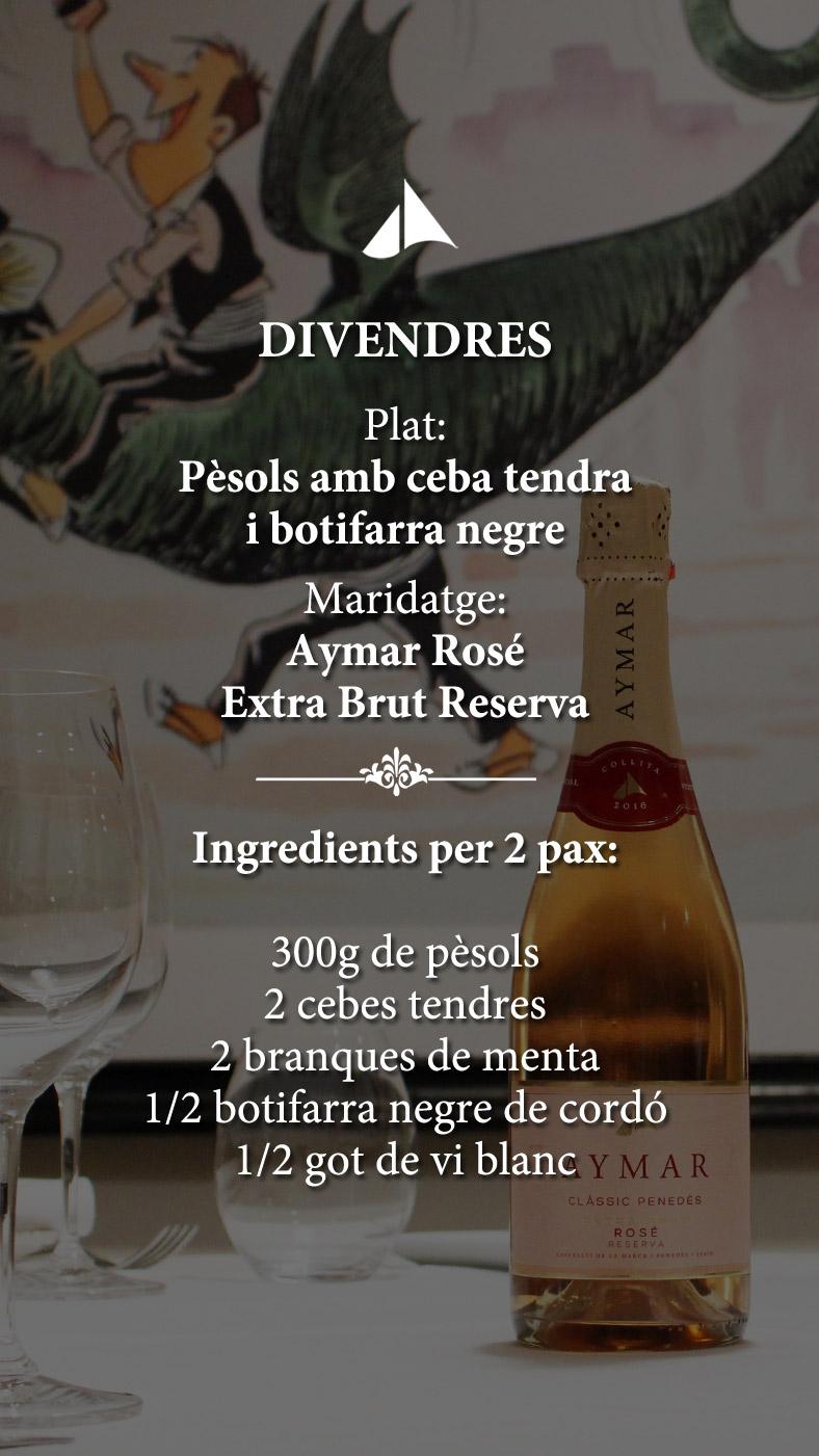 Maridatges amb vins ecològics i Clàssics Penedès Aymar, amb el valor del territori Penedès.
